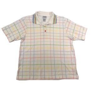 Vintage Windowpane Primary Colors Polo Shirt
